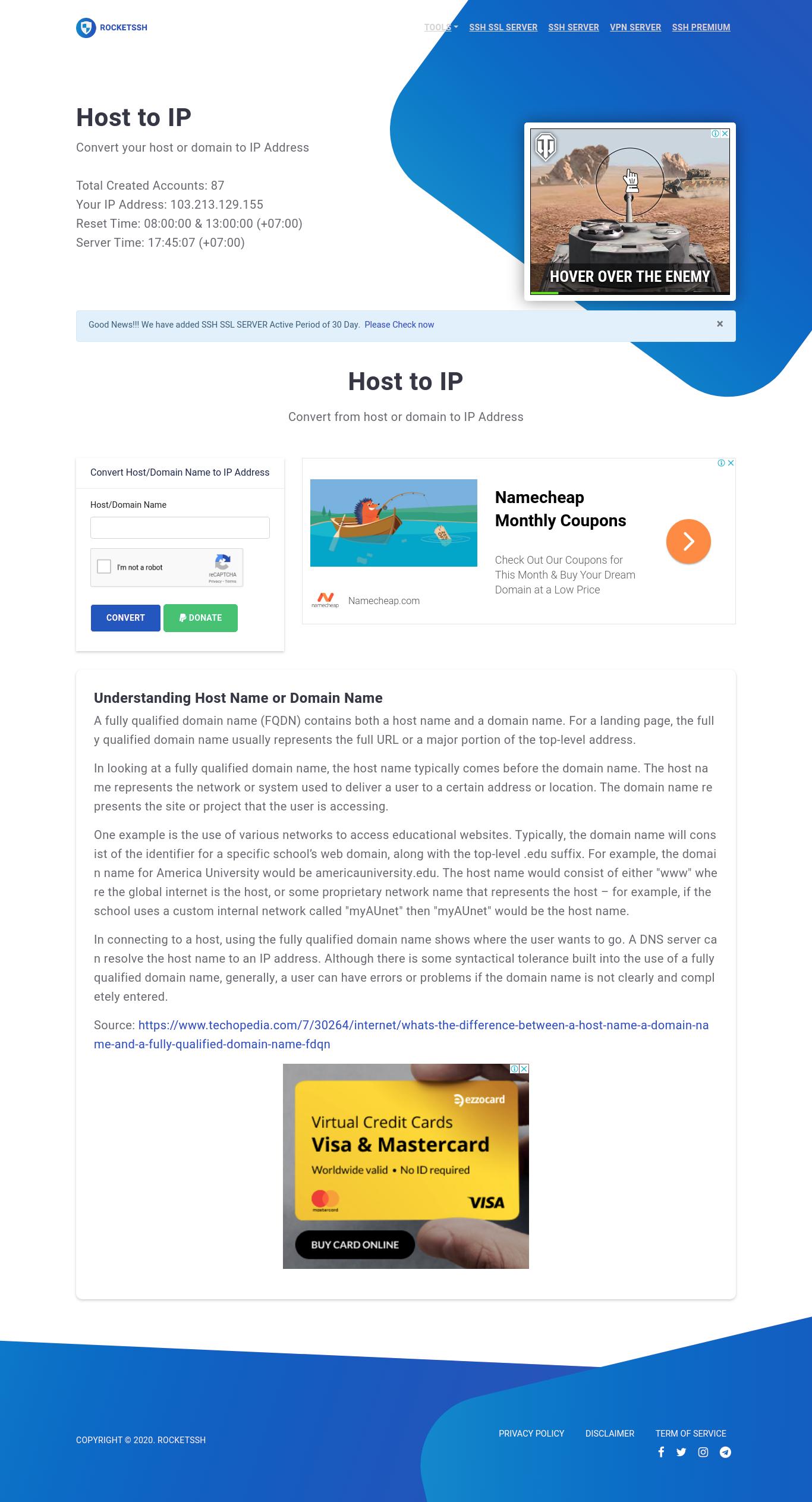 RocketSSH | Free SSH SSL Premium Quality for 30 Days